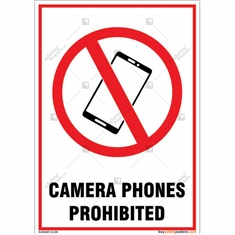 Camera Phones Prohibited Sign in Portrait