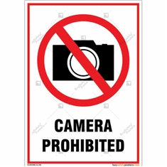 Camera Prohibited Sign in Portrait