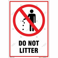 Do Not Litter Signs for Environmental Safety in Portrait Shape