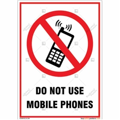 Do Not Use Mobile Phones Portrait Sign