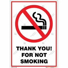 Thank You For Not Smoking Portrait Sign