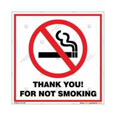 Thank You For Not Smoking Square Sign