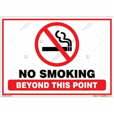 No Smoking Beyond This Point Sign in Landscape