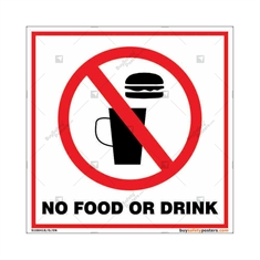 No Food Or Drinks Square Sign