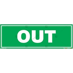 OUT Sign in Rectangle