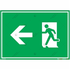 Emergency Exit Signs with Left Arrow in Landscape