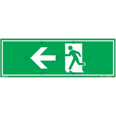 Emergency Exit Signs with Left Arrow in Rectangle
