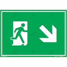 Down Right Exit Sign in Landscape