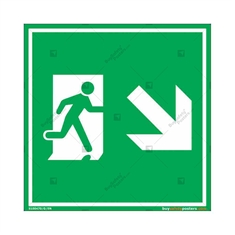 Down Right Exit Sign in Square