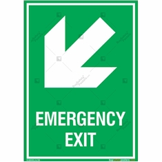 Emergency Exit Signs with Left Down Arrow in Portrait