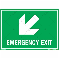 Emergency Exit Signs with Left Down Arrow in Landscape