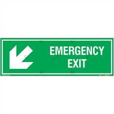 Emergency Exit Signs with Left Down Arrow in Rectangle