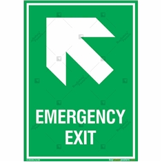 Emergency Exit Signs with Left Up Arrow in Portrait