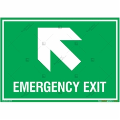 Emergency Exit Signs with Left Up Arrow in Landscape