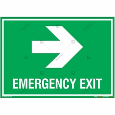 Emergency Exit Signs with Right Arrow in Landscape