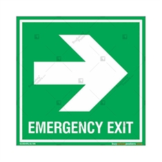 Emergency Exit Signs with Right Arrow in Square