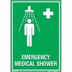 Emergency Medical Shower Sign in Portrait