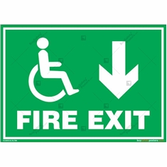 Fire Down Exit Sign for Disabled People in Landscape
