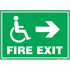 Fire Right Exit Sign for Disabled People in Landscape