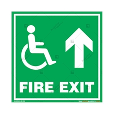 Fire Straight Exit Sign in Square