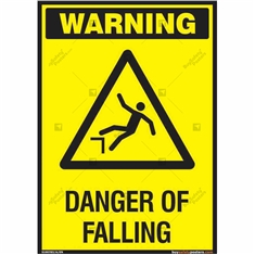 Danger of Falling Warning Sign in Portrait