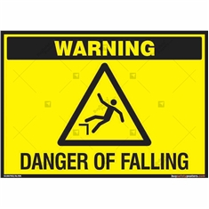 Danger of Falling Warning Sign in Landscape