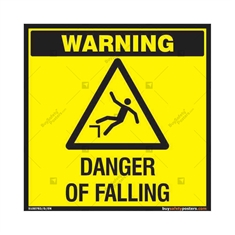 Danger of Falling Warning Sign in Square