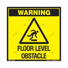 Floor Level Obstacle Warning Sign in Square