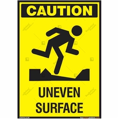 Caution Uneven Surface Signs in Portrait