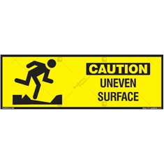 Caution Uneven Surface Signs in Rectangle