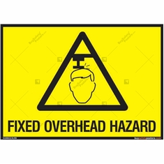 Fixed Overhead Hazard Sign in Landscape