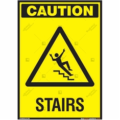 Stairs Caution Sign in Portrait
