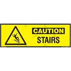 Stairs Caution Sign in Rectangle