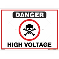 High Voltage Sign in Landscape