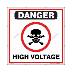 High Voltage Sign in Square