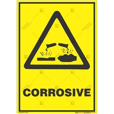 Corrosive-Area-Warning-Sign in Potrait
