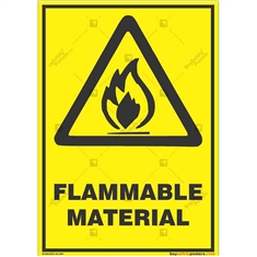 Warning-Flammable-Material-Sign in Potrait