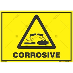Corrosive-Area-Warning-Sign in Landscape