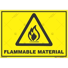 Warning-Flammable-Material-Sign in Landscape