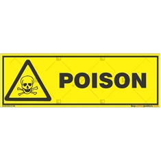 Poisonous-Material-Warning-Sign in Rectangle