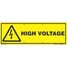 High-Voltage-Warning-Sign in Rectangle