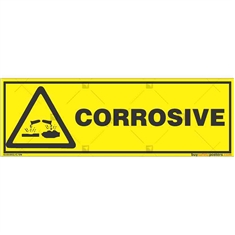 Corrosive-Area-Warning-Sign in Rectangle