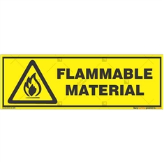 Warning-Flammable-Material-Sign in Rectangle