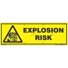 Explosion-Risk-Warning-Sign in Rectangle