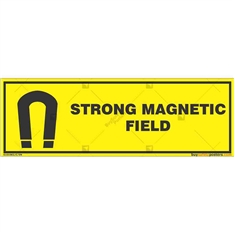 Strong-Magnetic-Field-Warning-Sign in Rectangle