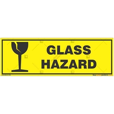 Glass-Hazard-Warning-Sign in Rectangle