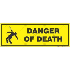 Electric-Danger-Warning-Sign in Rectangle