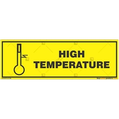 High-Temperature- Zone-Caution-Sign in Rectangle