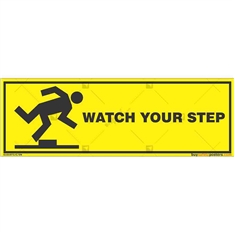 Watch-Your-Step-Caution-Sign in Rectangle