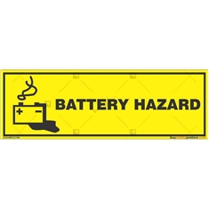 Battery-Hazard-Warning-Sign in Rectangle